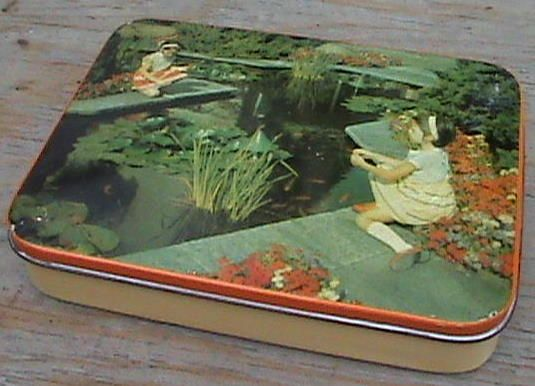 Vintage Sharps Toffee Tin Edward Sharp Maidstone Kent 2 Girls Ornamental Pond Gold Fish Circa 1950s £12 #FollowVintage