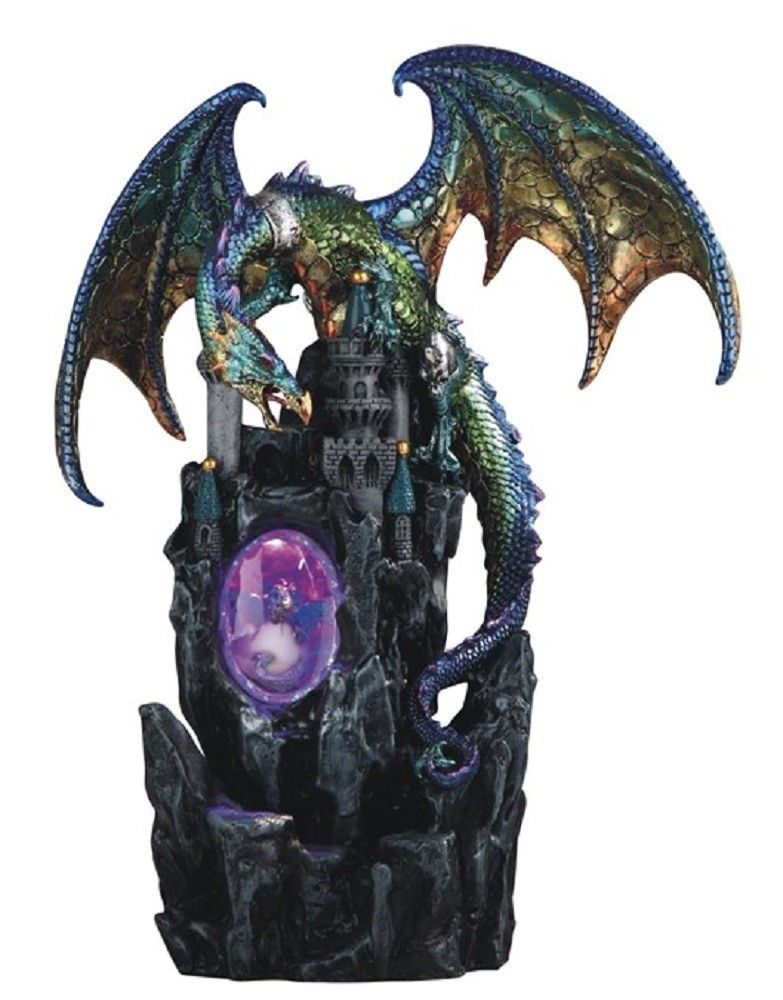 Green and Purple Dragon on Castle with LED Light up Wizard