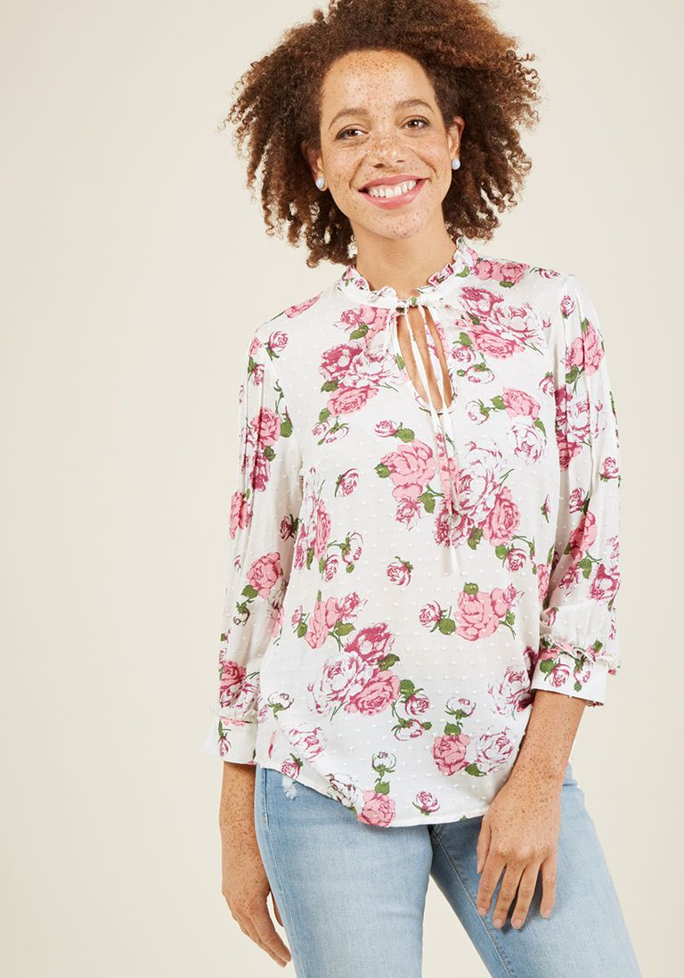 4e0d0b64922 Rustic Radiance Tie-Neck Floral Top in Ivory in 4X - Long Regular Waist - Plus  Sizes Available