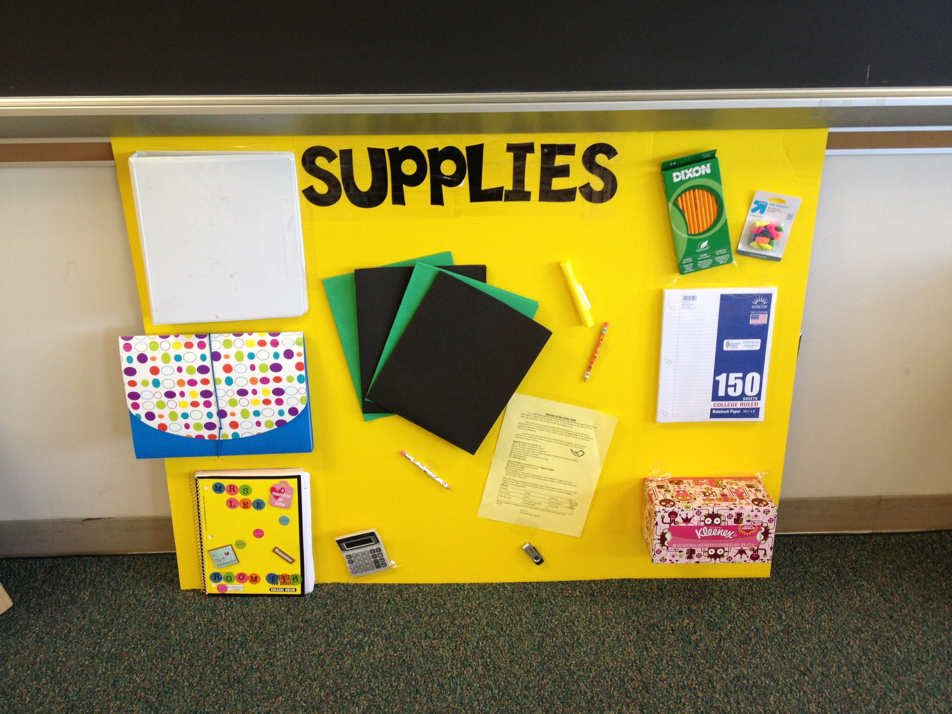 Showcase back to school supplies for back to school night for students and parents to see required items