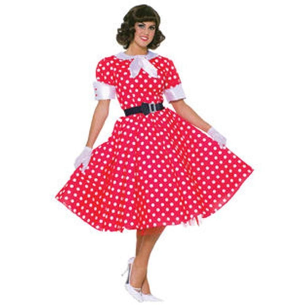 75bdf1ed48e32 50s Housewife Costume Red With White Polka Dots One Size For Women Easy To  Clean…