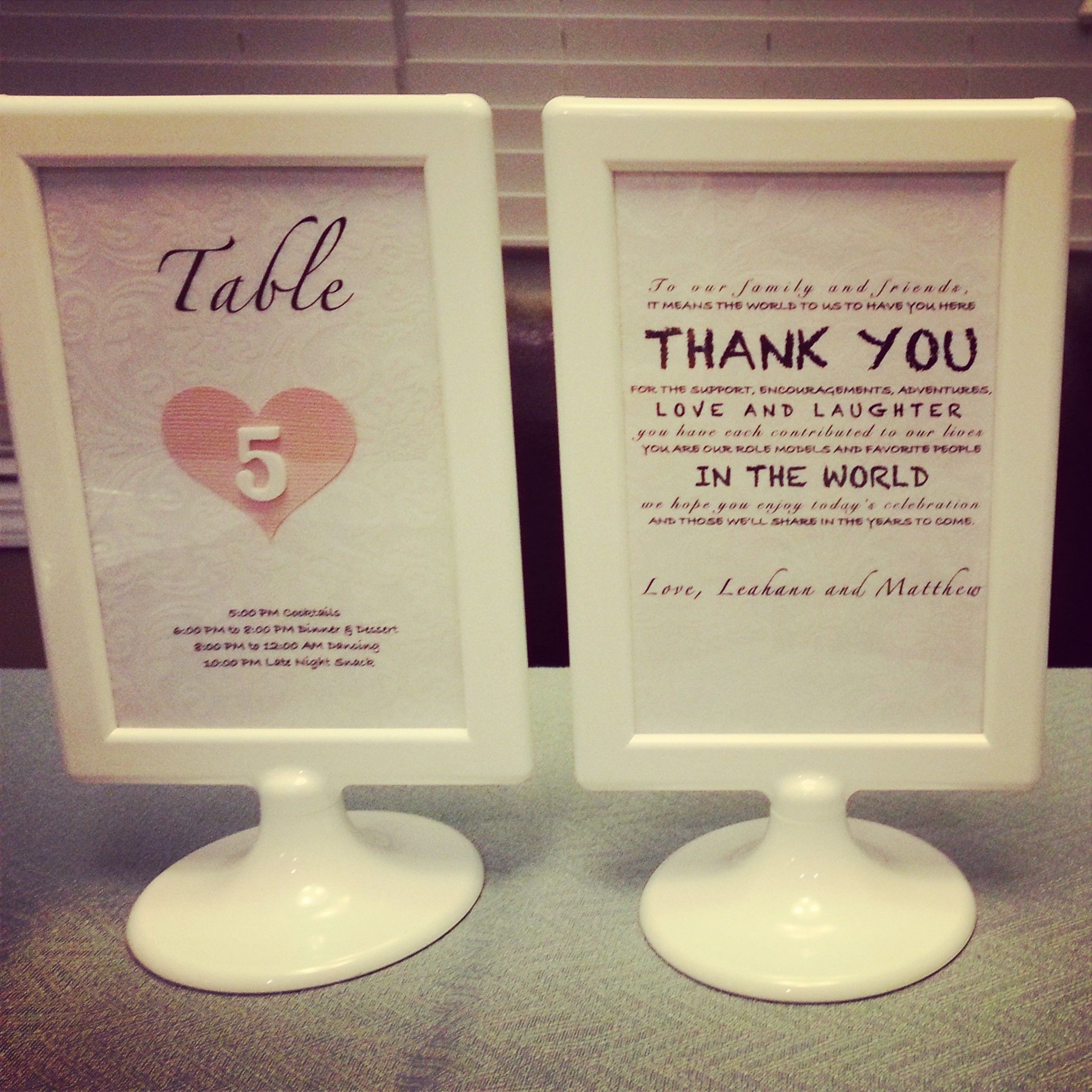 Table Numbers  ThankYou for Wedding  Ikea Tolsby Frame