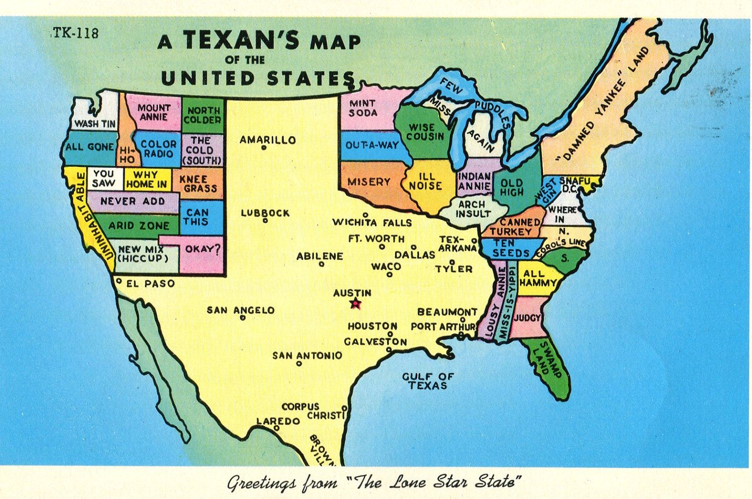 Map Of Texas Us.Texans Map Of The United States Postcard 1962 Funny Named States