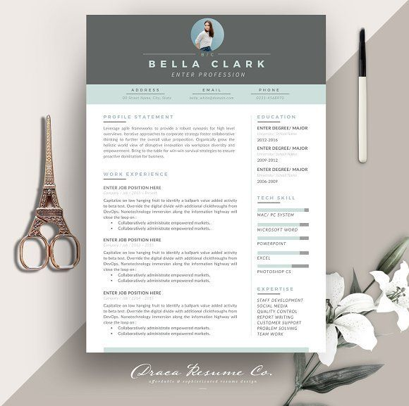 GET IT WHILE ITS FREE! - Resume Template 3 pages Aqua Grey by