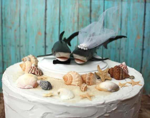 beach wedding cake toppers shark - Google Search