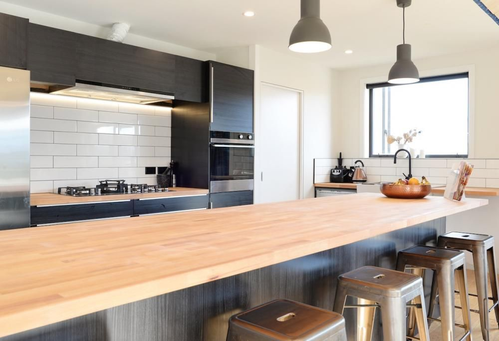 Kitchen, deavoll construction, building nz, wooden bench ...