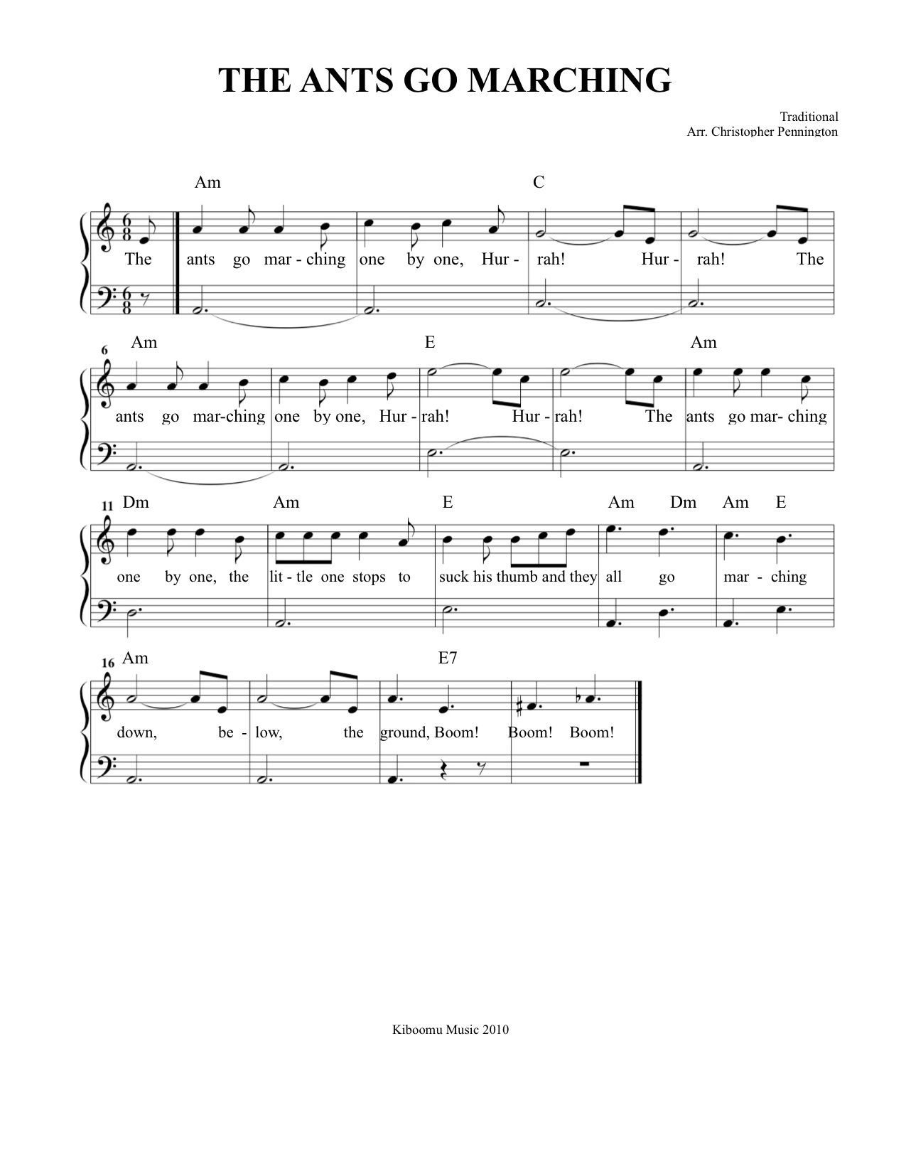 The Ants Go Marching Sheet Music And Song From Kiboomu