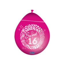 Zakje ballonnen van 30 cm. Ovaalvormig. Verpakt per 8 stuks. Mooie roze Sweet 16 Party ballonnen voor een verjaardagsfeest ter ere van jullie 16-jarige dochter.