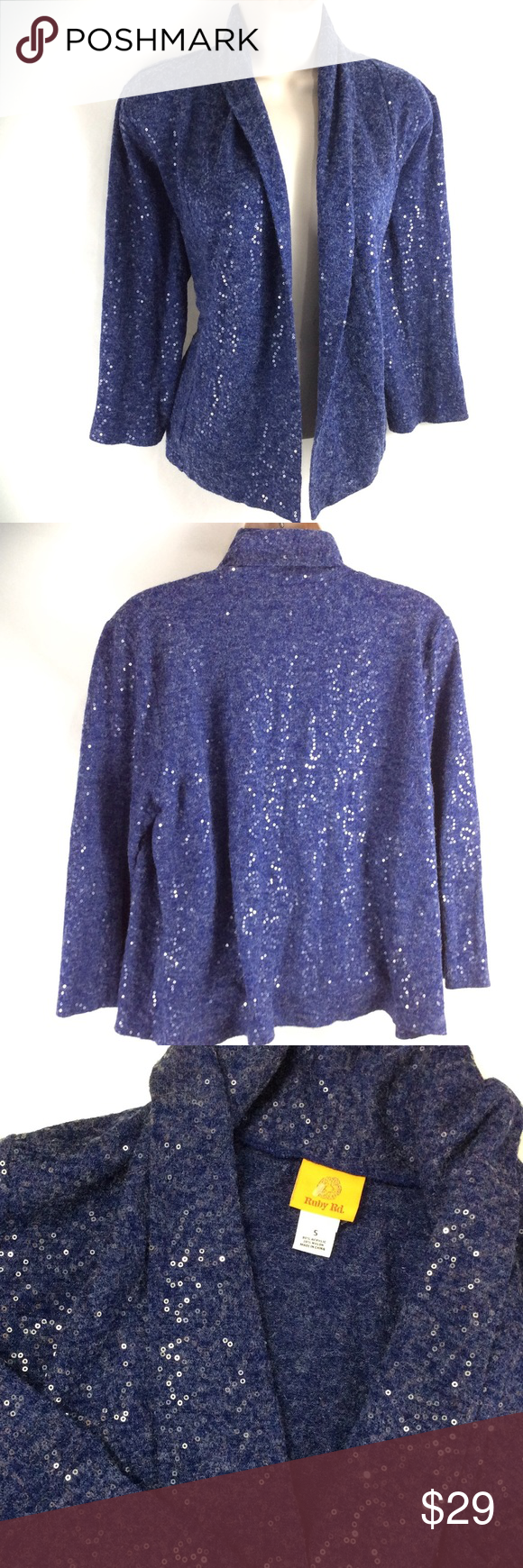 Ruby Rd New York Sapphire Blue Sequin Cardigan | Sequin cardigan ...