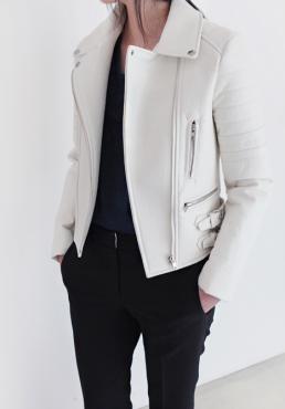 perfecto cuir blanc