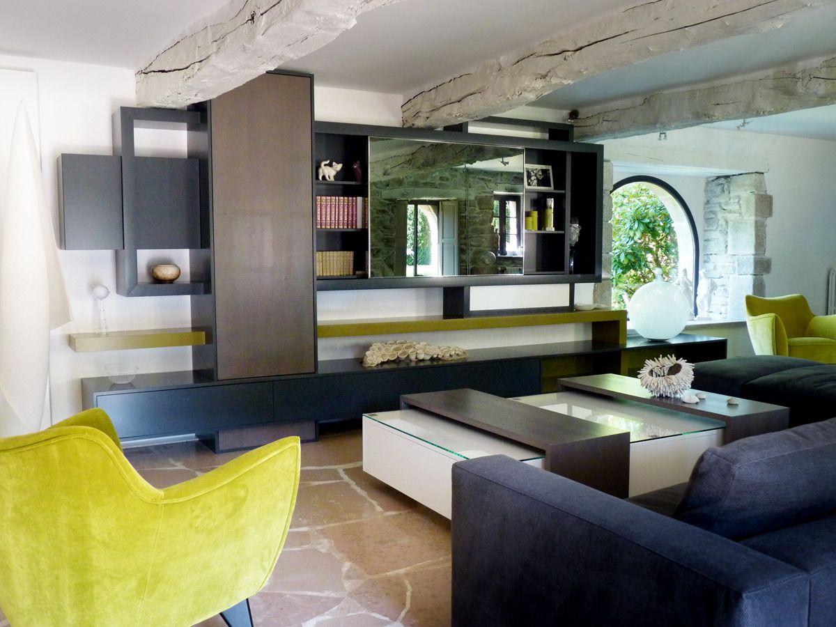 Composition Rangements Muraux Living Meuble Tv Cran Tv Miroir  # Meuble Bibliotheque Design Contemporain