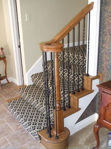 A Girl Can Dream Wood End Caps Iron Spindles And Stair Carpet Stair Remodel Wood Stair Treads Wood Stairs