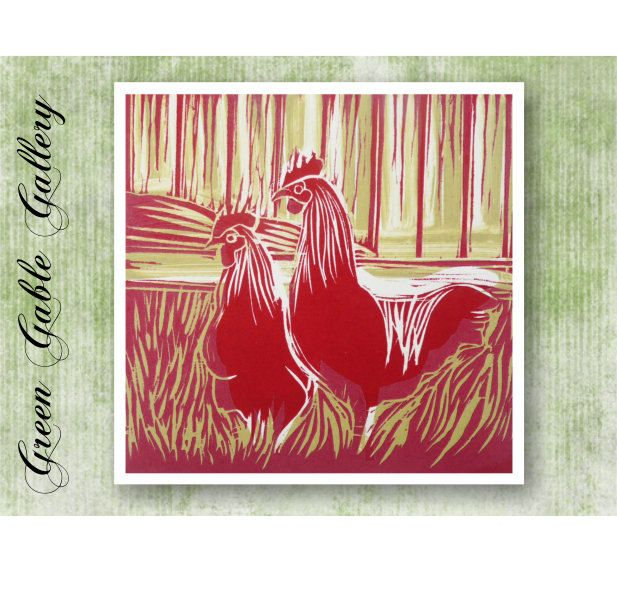 Chicken greeting card- Design produced from original Wood cut - greeting card format