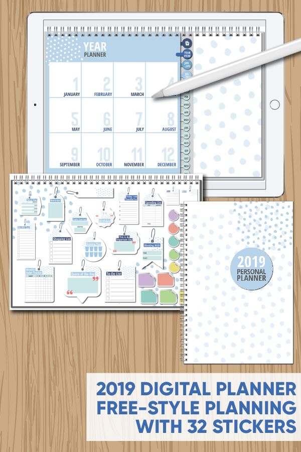 picture about Free Digital Planner Pdf titled 2019 Absolutely free-Design Electronic Planner with 32 Developing Stickers