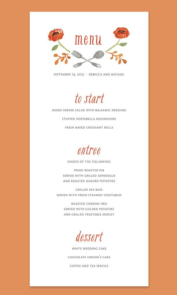 Fall Floral Menu Card with Fork and Spoon, Fall Wedding
