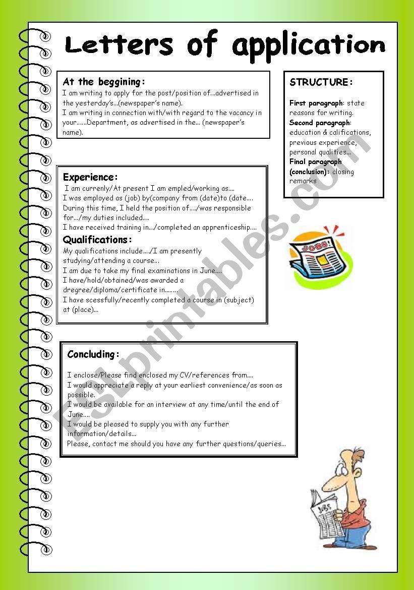 Letter Of Application Worksheet