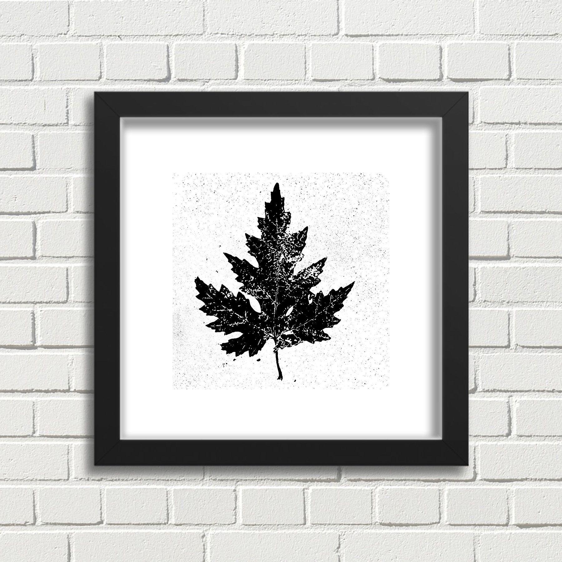 Black and White Botanical Decor Print White Maple Leaf