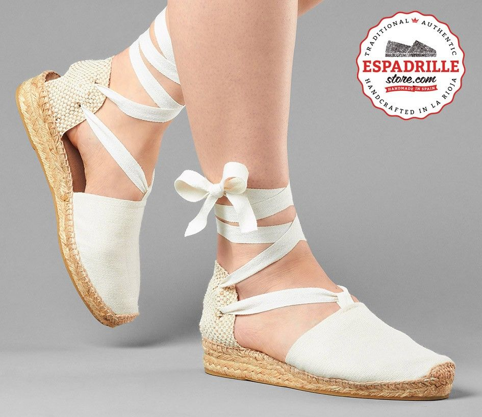 d0ba0eb5d06 Ivory White Low Wedge Heel from Spain | Lace-up espadrilles for ...