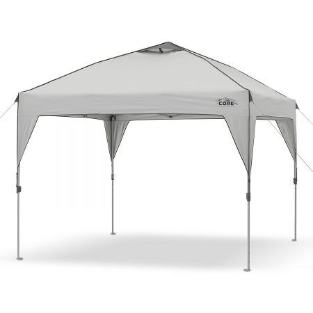 CORE 10' x 10' Instant Shelter Pop-Up Canopy Tent with Wheeled Carry Bag, Gray