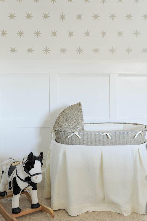 neutral white farmhouse nursery bassinet