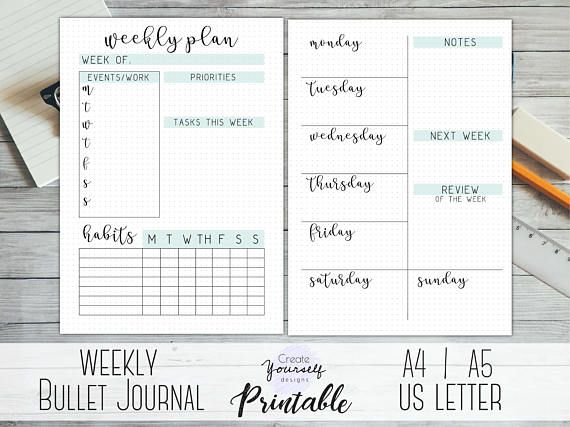 Printable weekly bullet journal insert with 2 pages --\u003e 2 weekly