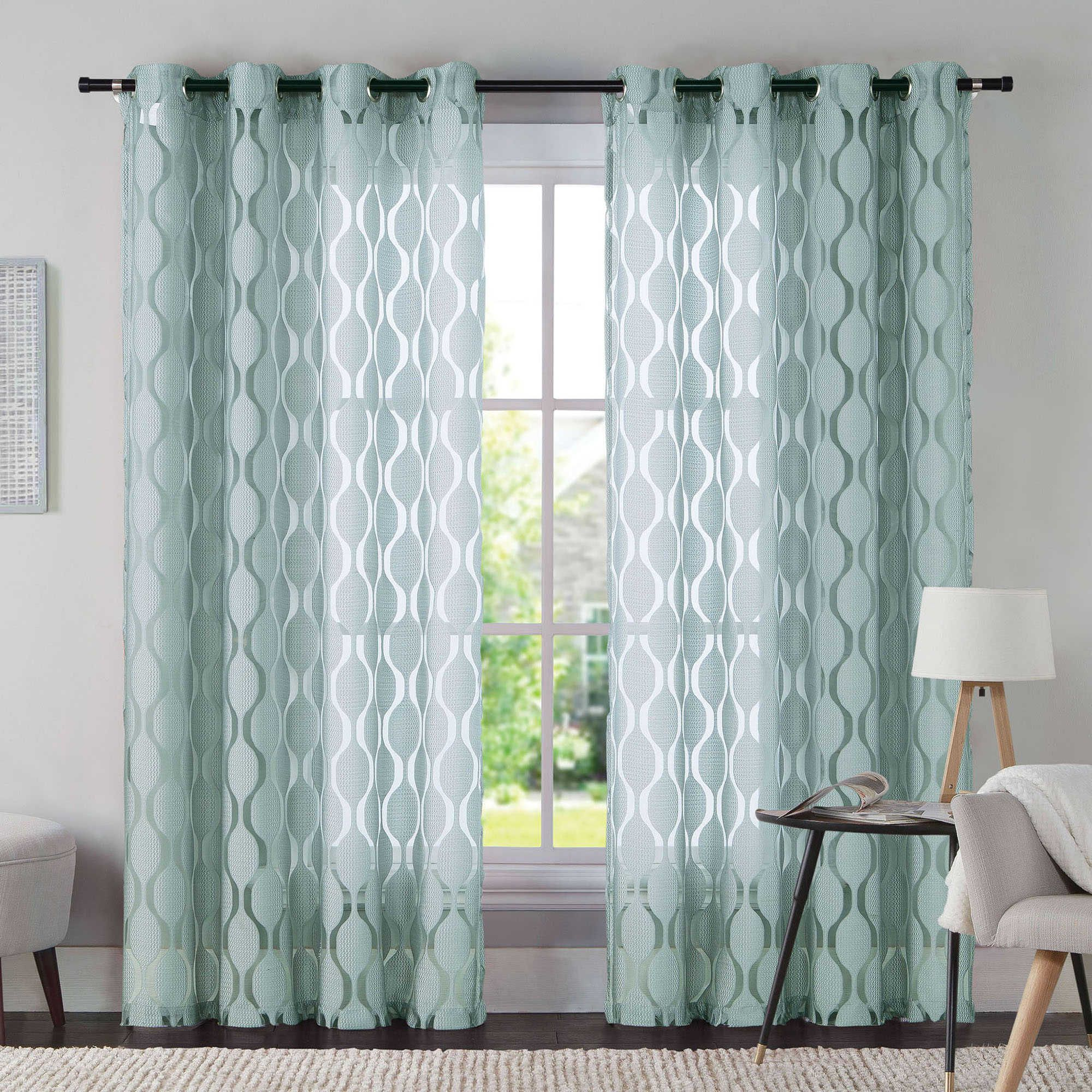 Vcny Aria 95 Inch Window Curtain Panel In Aqua Panel Curtains