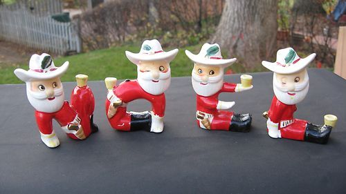 Vintage japan christmas cowboy santa noel candle holder figurines