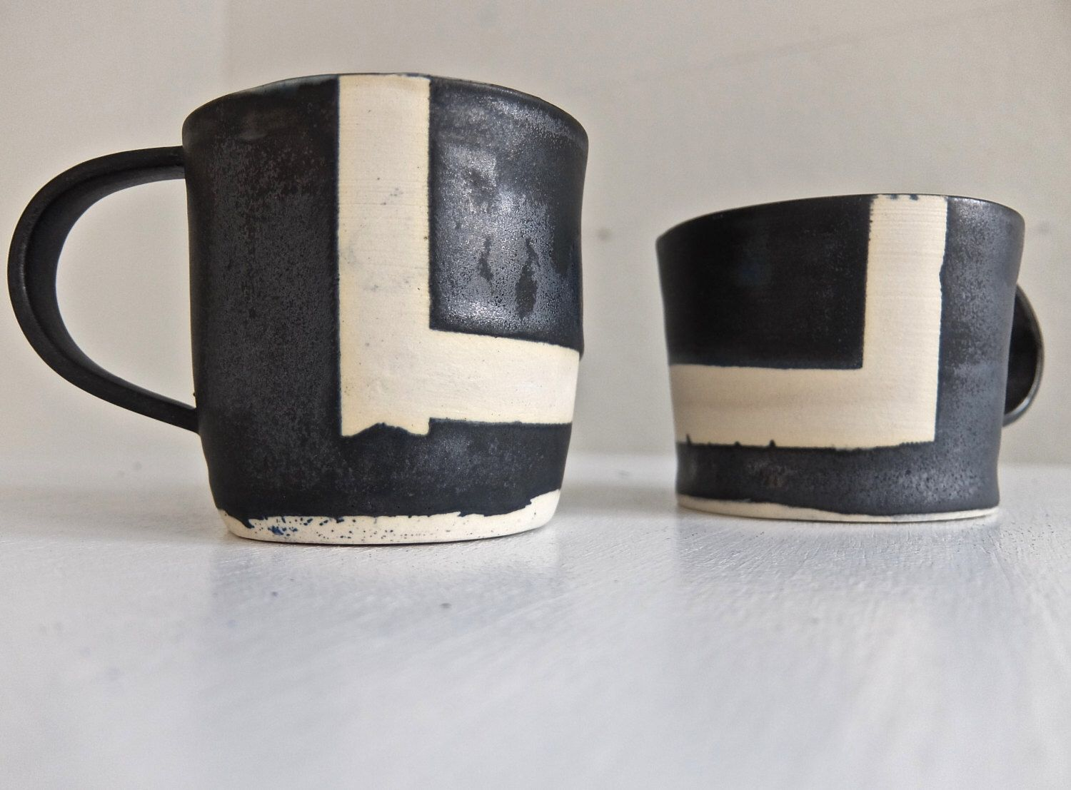 Items Similar To Handmade Ceramic Mug With Bold Pattern, White Clay And  Gunmetal Glaze, Contemporary. Modern Kitchen, Approx X X On Etsy