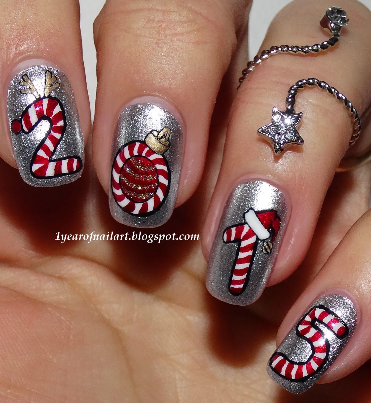 Http1yearofnailartspot201412four candy caneml explore edgy nail art edgy nails and more prinsesfo Choice Image