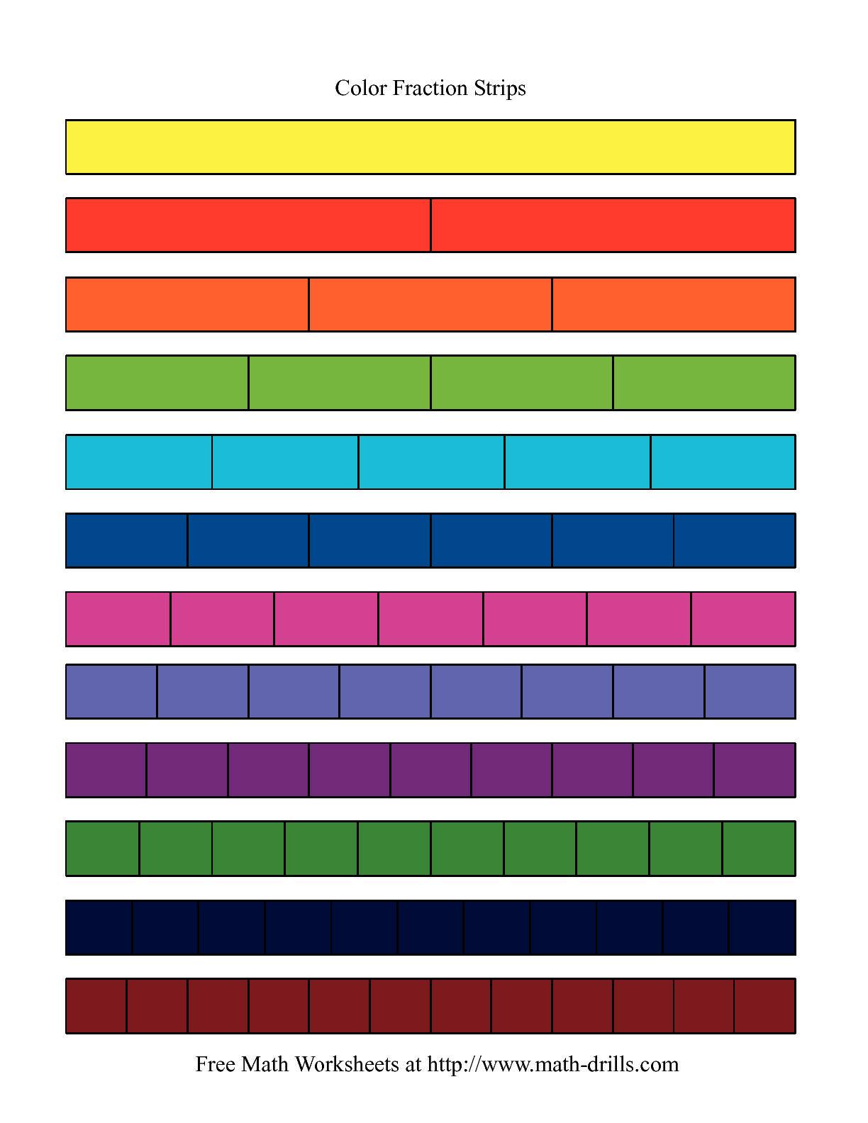 The Color Fraction Strips Unlabeled Fractions Worksheet