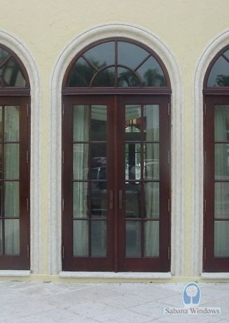 Aluminum Arched French Doors Exterior Pine Tree Arched French