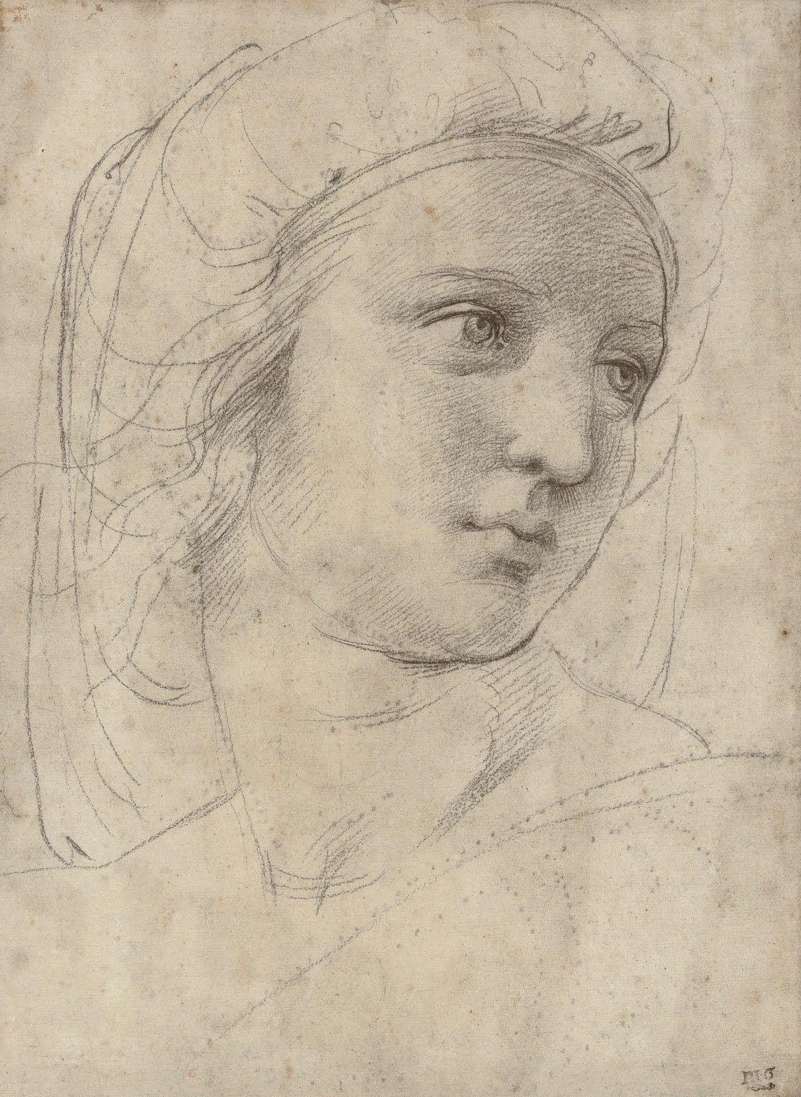 Raphael SelfPortrait Black Chlk Oxford The Ashmolean Museum - Picassos vintage light drawings pleasure behold