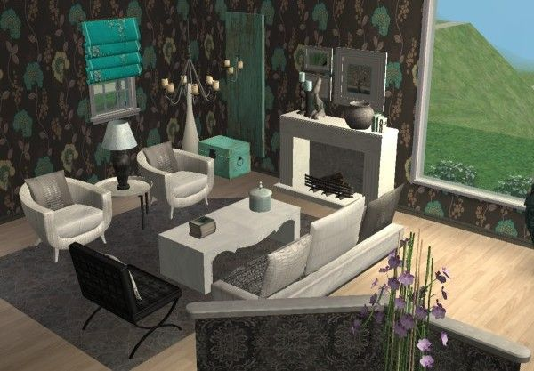 Candice Olson Inspired Glamorous Living Room. Home Décor Virtual Room Design  Using The Sims 2