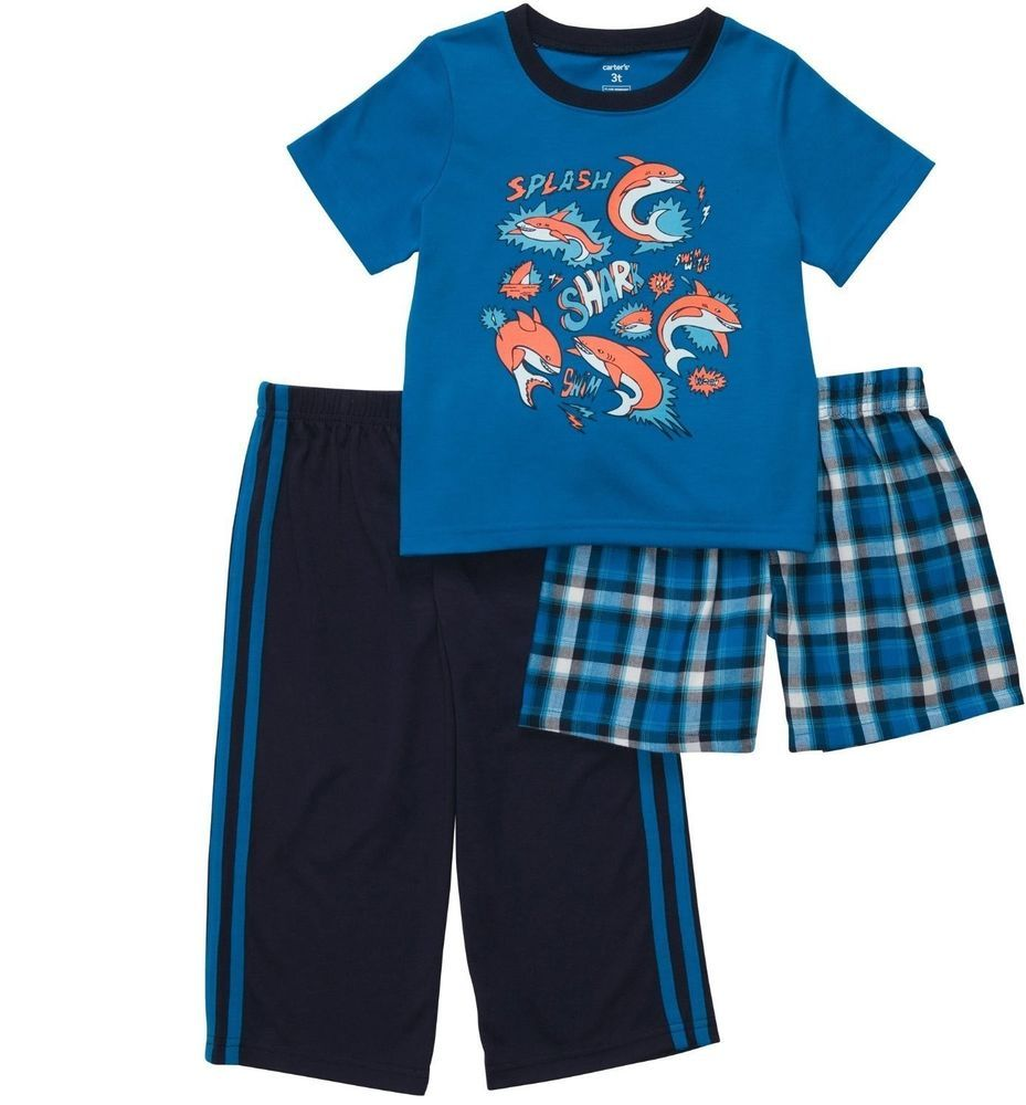 details about carter s boys size blue shark piece polyester carter s boys size 4 blue shark 3 piece polyester jersey pajama set 34 nwt