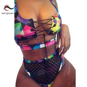 f6b0538644a46 Tengweng 2019 Sexy Brazilian Bikini African print Bandage Swimwear Mesh  Cross High waist Bikini Plus size Female Bathing suit – YO Bikini