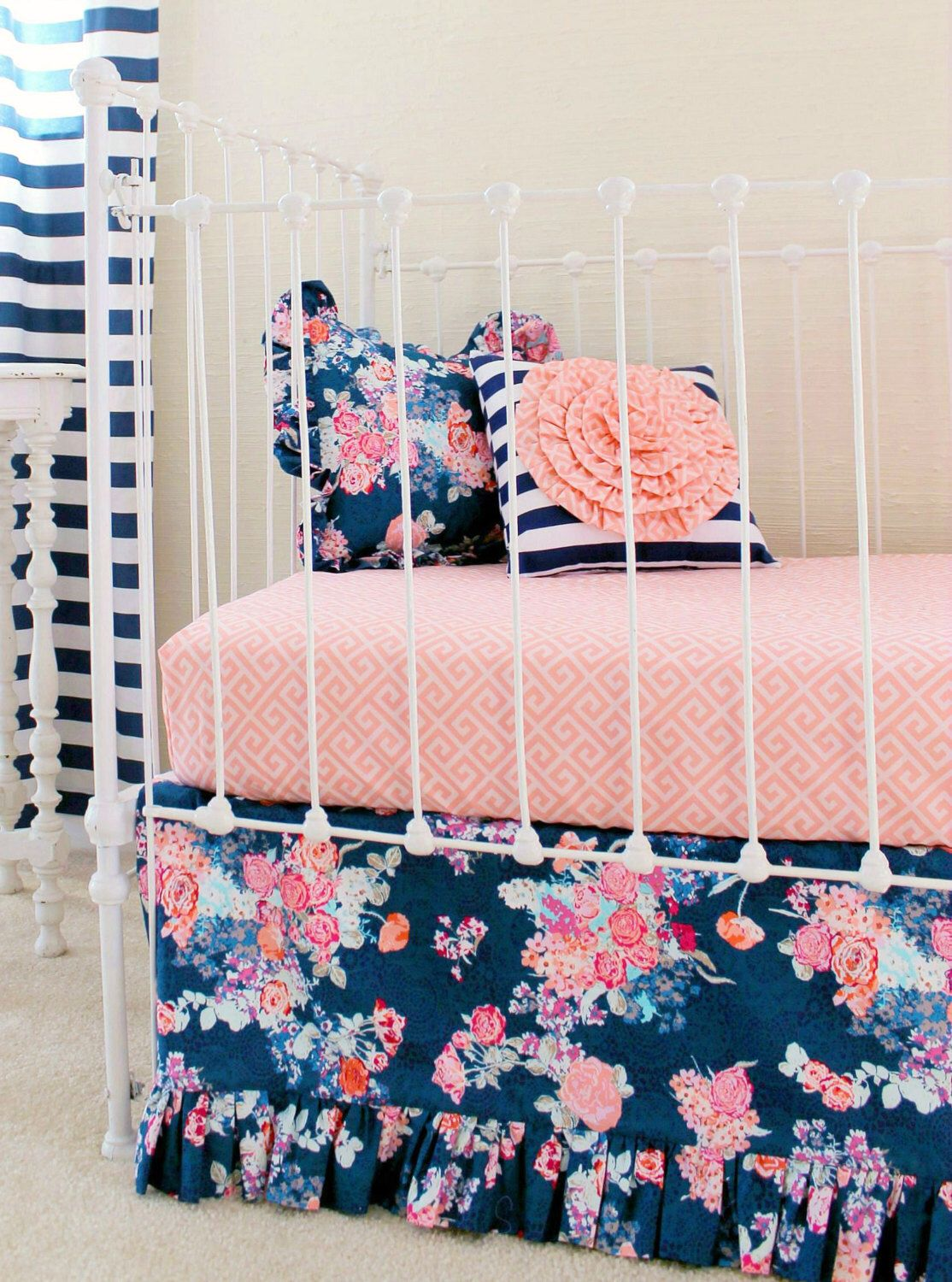 Coral and navy baby girl bedding stripe and floral chic coral and