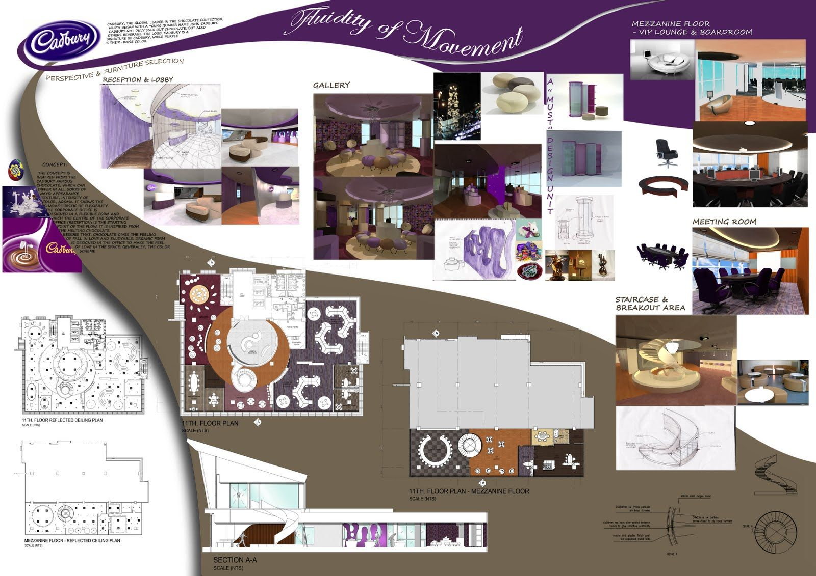 Corporate office cadbury boards presentations - Interior design presentation layout ...