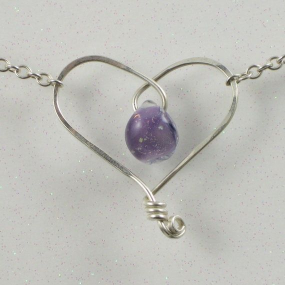 purple jewelry hearts | Purple Heart Necklace Sterling Silver Wire ...