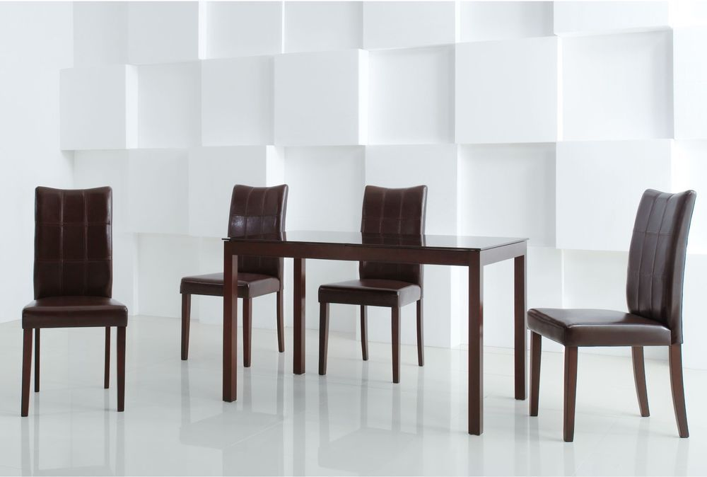 Dining Set Table Chairs 5 Piece Furniture Kitchen Pub Wood Bar Dinette Modern #Unbranded