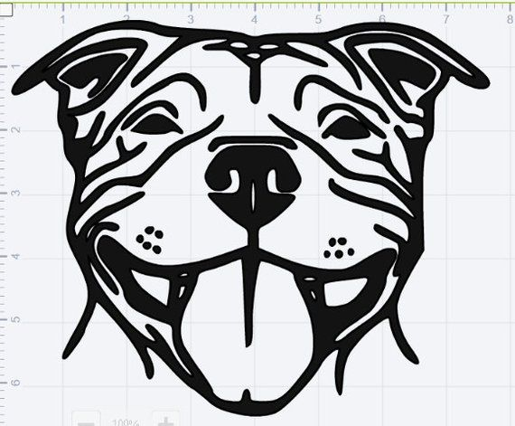 Smiling Pitbull Svg Eps Dxf Studio 3 Cut Files