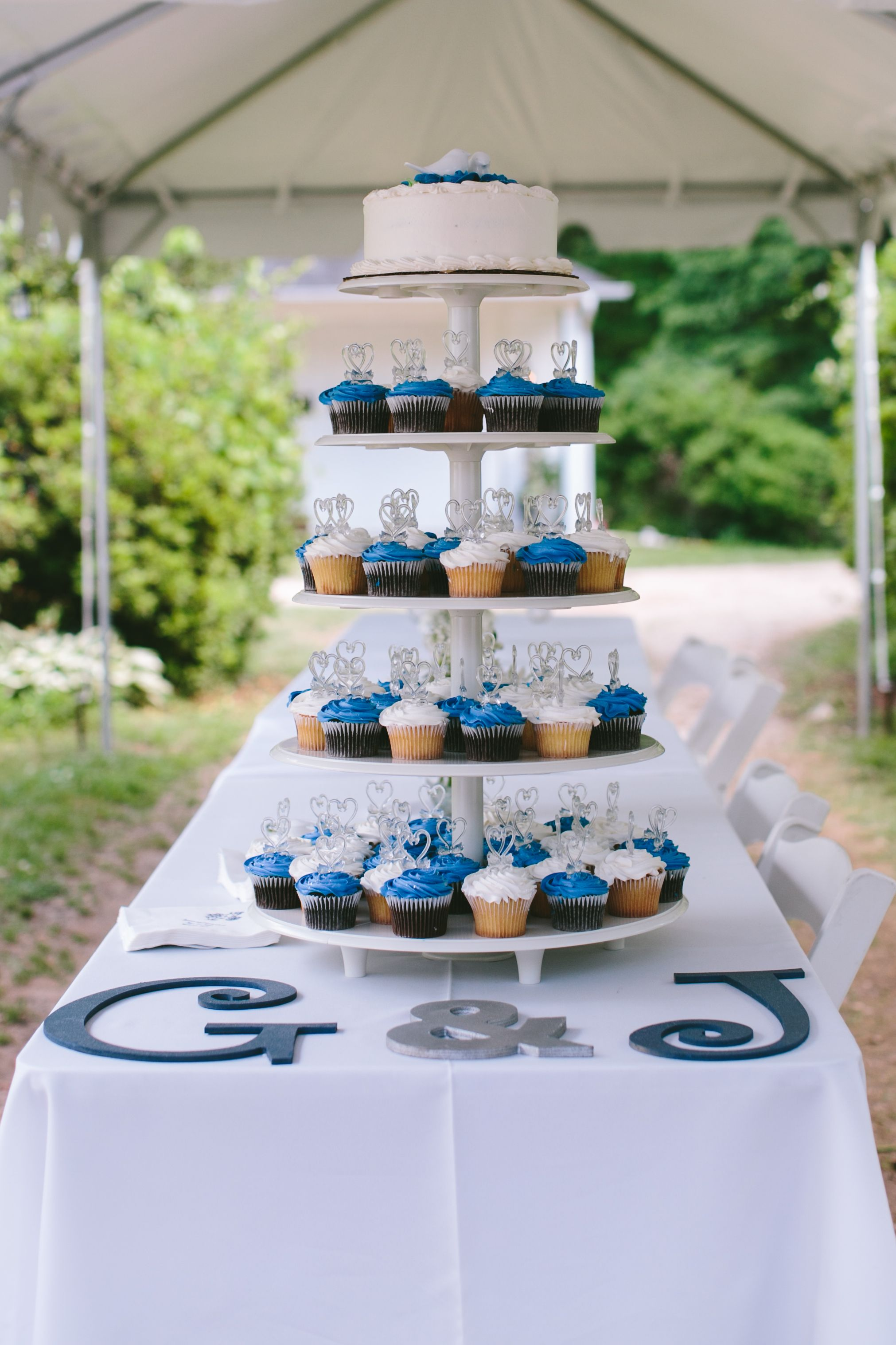 Blue and white wedding cake and cupcake tower we ordered