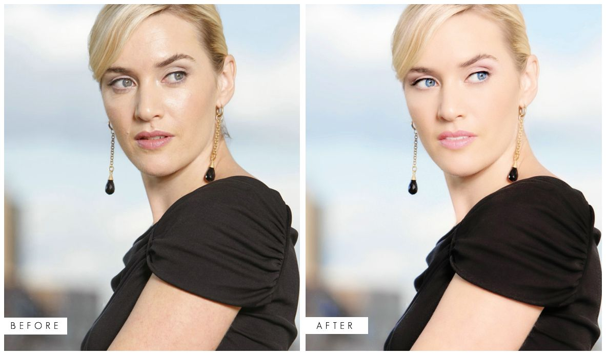 kate winslet - before & after. she is gorgeous without the