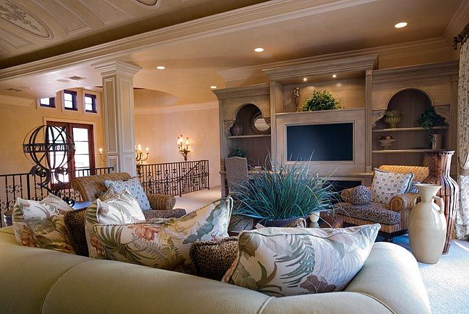 I like the one stone wall, large throw rug, and little ...