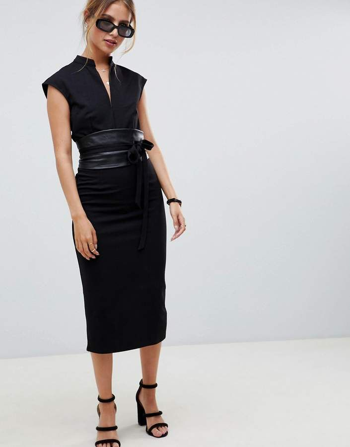 1f36ee107a ASOS DESIGN pencil midi dress with faux leather obi belt