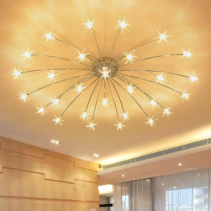 Modern Round Starry Sky Led Crystal Glass Ceiling Lights 21 28 Heads Stars Ceiling Lamps Bedroom Living Room Light Fixtures Light Fixtures Lamps Lighting Fixtur In 2020 Glass Pendant Light Glass Ceiling Lights Star
