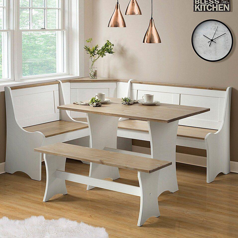 Sonja 3-Piece Dining Nook In Antique White