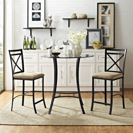 Dorel Home Valerie 3Piece Counterheight Glass And Metal Dining Prepossessing Dining Room Tables Walmart Review
