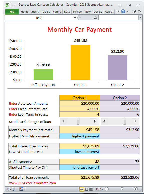 georges excel car loan calculator v2 0 in 2018 car loan payment