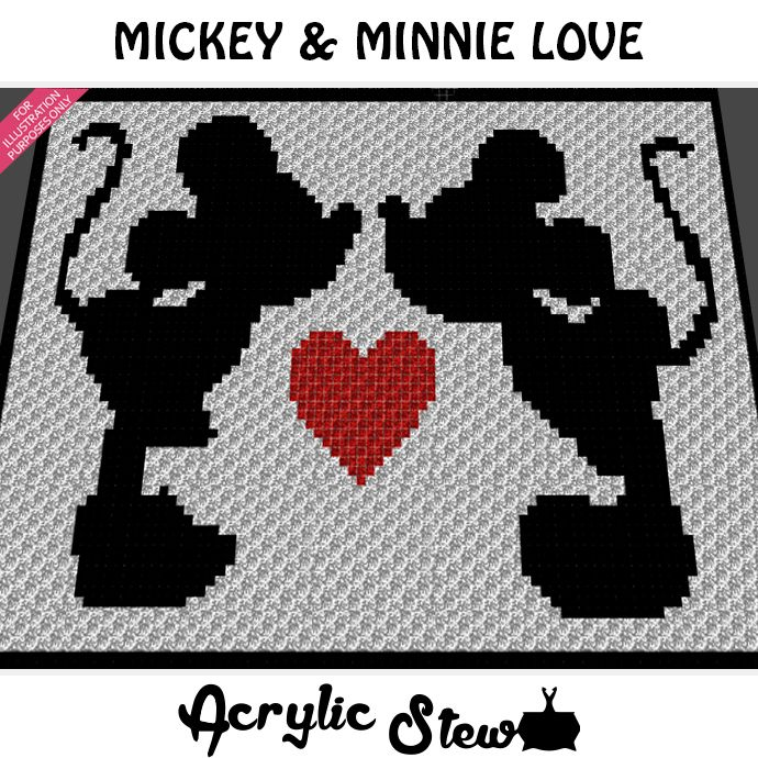 Mickey Mouse & Minnie Mouse Love Heart Forever crochet blanket ...
