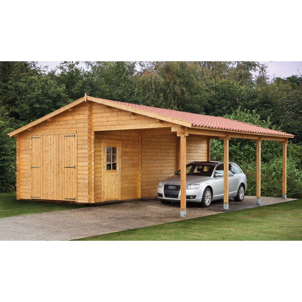 Wood sheds with carports tuin 13ft x 27ft 4m x for Single garage with carport